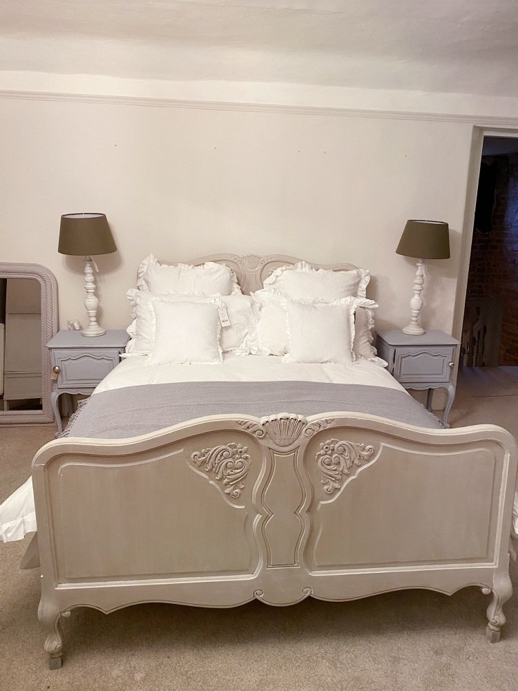 French painted king size bed country grey white wax