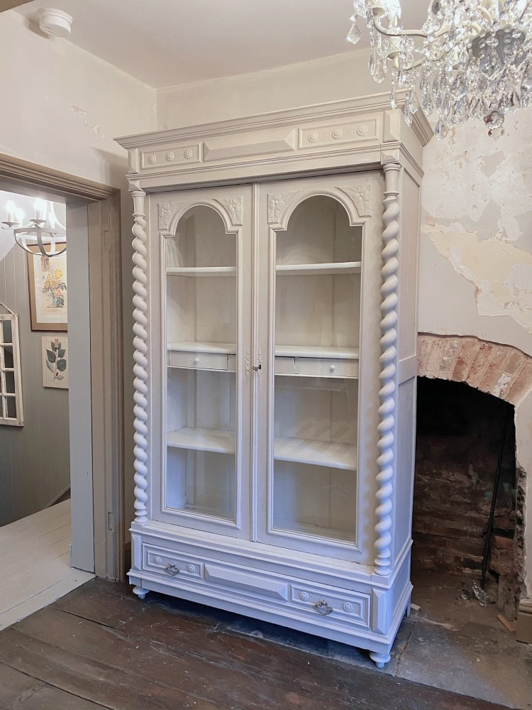 French linen armoire - white waxed vintage finish