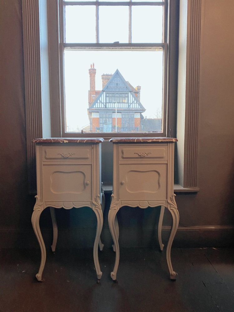 Pair of french Louis pot cupboards with marble