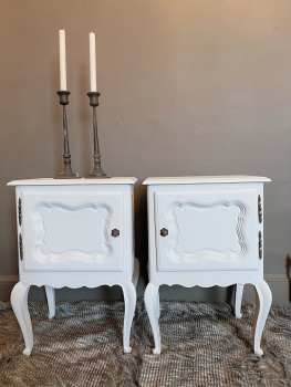 Matching pair of french bedside cupboards