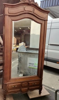 Single antique Oak Louis XV Mirrored Armoire
