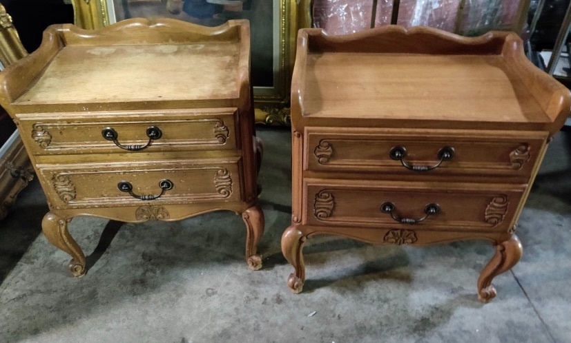 Pair French Louis Bedside tables