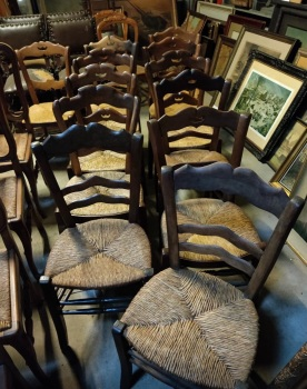 10 mixed French dining chairs