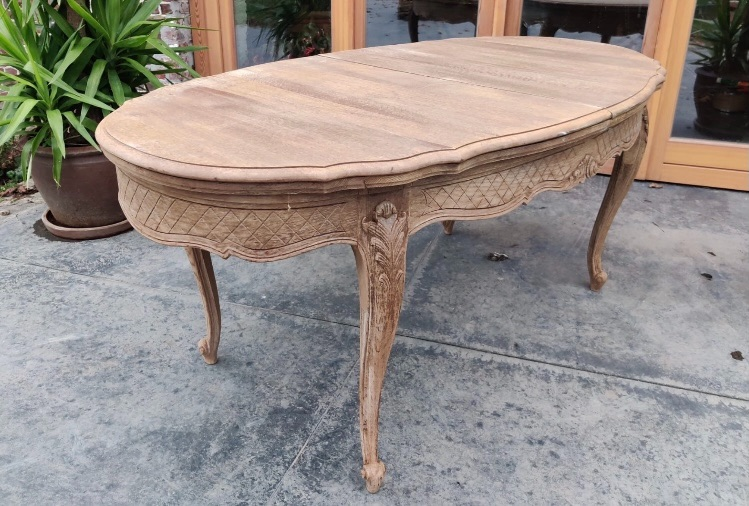 Bleached French Louis XV Oval extending table