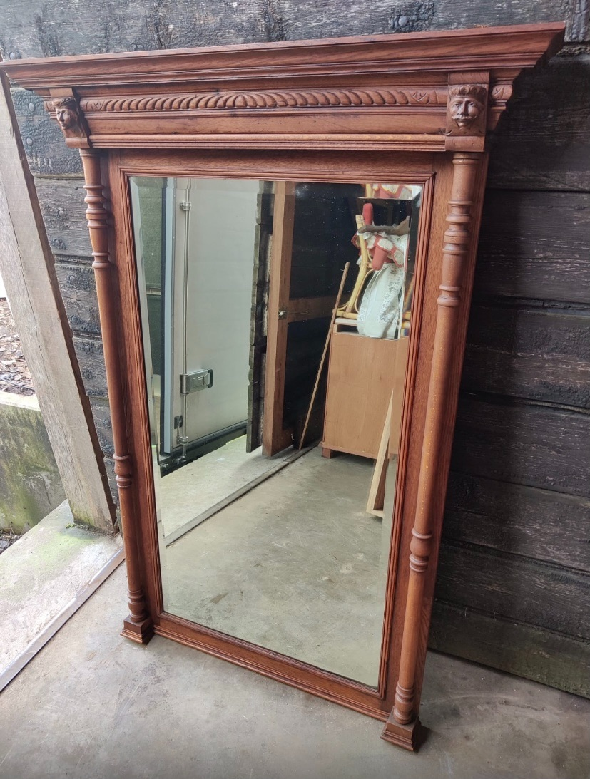 Large Moustache oak mirror antique