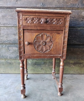 Ornate carved Side table with marble