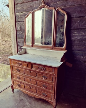Antique French Louis XV washstand mirror & marble