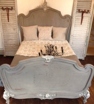 Antique French Oak Louis XV Double Bed hand painted