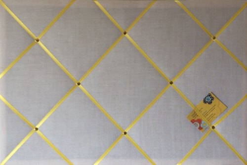 Large 60x40cm White with Yellow Ribbon Hand Crafted Fabric Notice / Memory