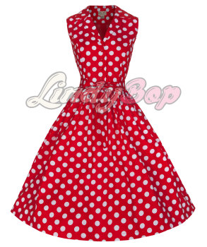 LINDY BOP 'MATILDA' FABULOUSLY FLIRTY 50's ROCKABILLY RED POLKA DOT SHIRT DRESS