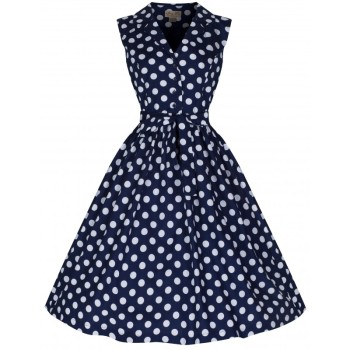 LINDY BOP 'MATILDA' FABULOUSLY FLIRTY 50's ROCKABILLY NAVY POLKA DOT SHIRT DRESS