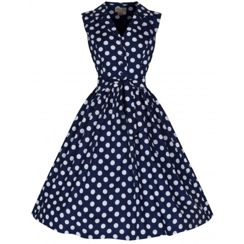 LINDY BOP 'MATILDA' FABULOUSLY FLIRTY 50's ROCKABILLY NAVY POLKA DOT SHIRT