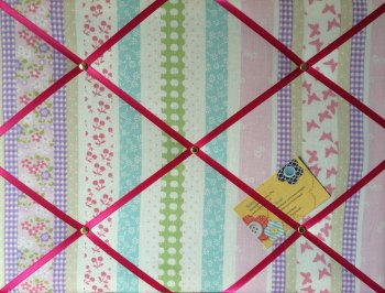 Medium 40x30cm Laura Ashley Clementine Stripe Hand Crafted Fabric Notice / Pin / Memo / Memory Board