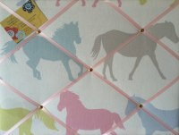 Medium 40x30cm Clarke & Clarke Sorbet Horse / Horses Stampede Crafted Fabric Notice / Pin / Memo / Memory Board