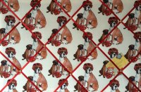 Large 60x40cm Boxing Lessons Boxer Dog Hand Crafted Fabric Notice / Memory / Pin / Memo Board