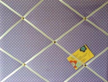 Medium 40x30cm Lilac White Polka Dots Hand Crafted Fabric Notice / Pin / Memory / Memo Board