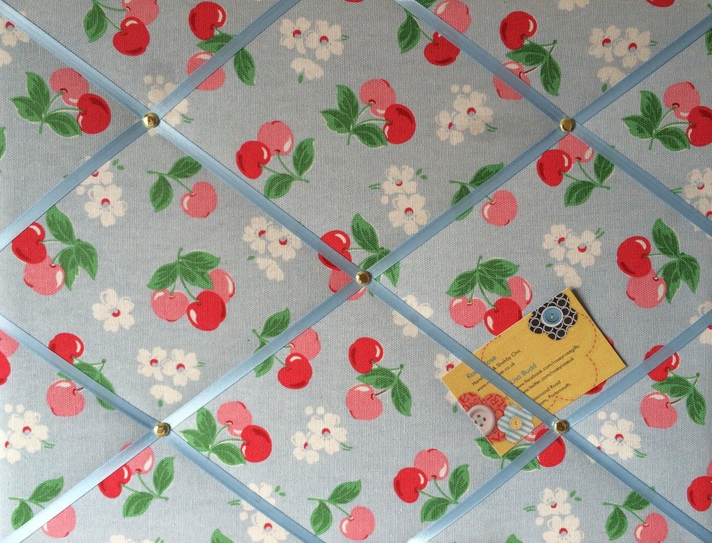 Medium 40x30cm Cath Kidston Blue Cherry Hand Crafted Fabric Notice / Pin /