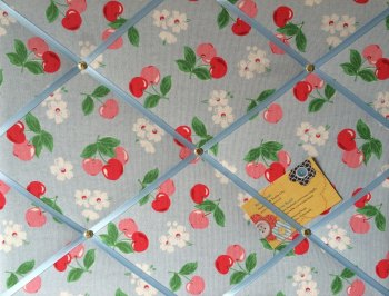 Medium 40x30cm Cath Kidston Blue Cherry Hand Crafted Fabric Notice / Pin / Memo / Memory Board