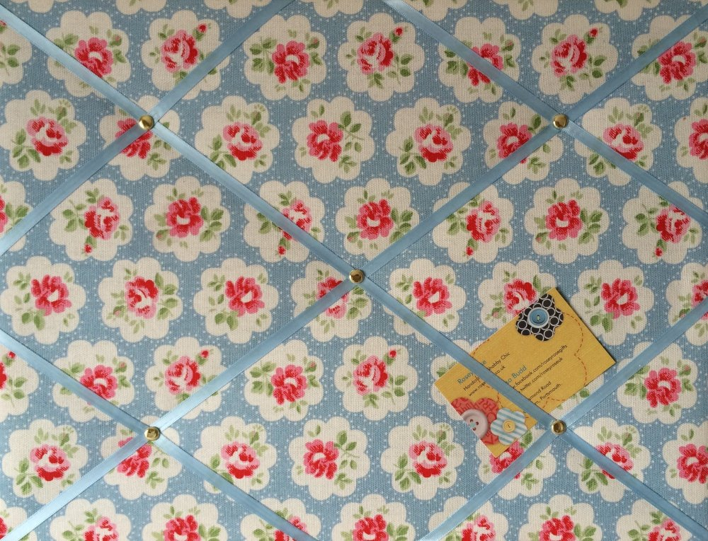 Medium 40x30cm Cath Kidston Blue Provence Rose Hand Crafted Fabric Notice /
