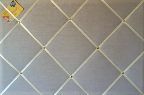 Large 60x40cm Grey with Cream Ribbon Hand Crafted Fabric Notice / Memory /