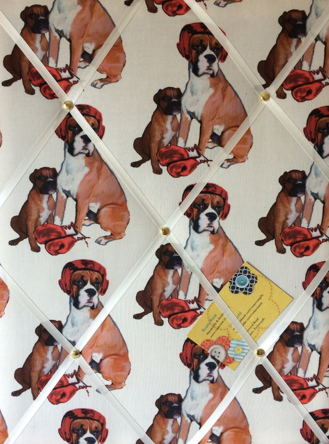 Medium 40x30cm Boxing Lessons Boxer Dog Hand Crafted Fabric Notice / Pin /