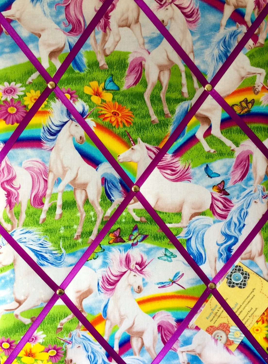 Medium 40x30cm Timeless Treasures Scenic Rainbows & Unicorns Hand Crafted F