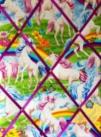 Medium 40x30cm Timeless Treasures Scenic Rainbows & Unicorn / Unicorns Hand Crafted Fabric Notice / Pin / Memo / Memory Board