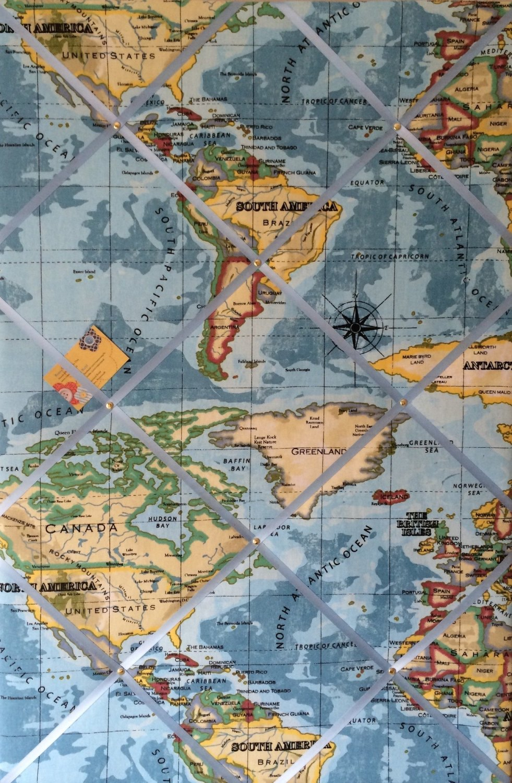 Extra large 90x60cm Vertical Prestigious Blue World Map / Atlas Hand Crafte