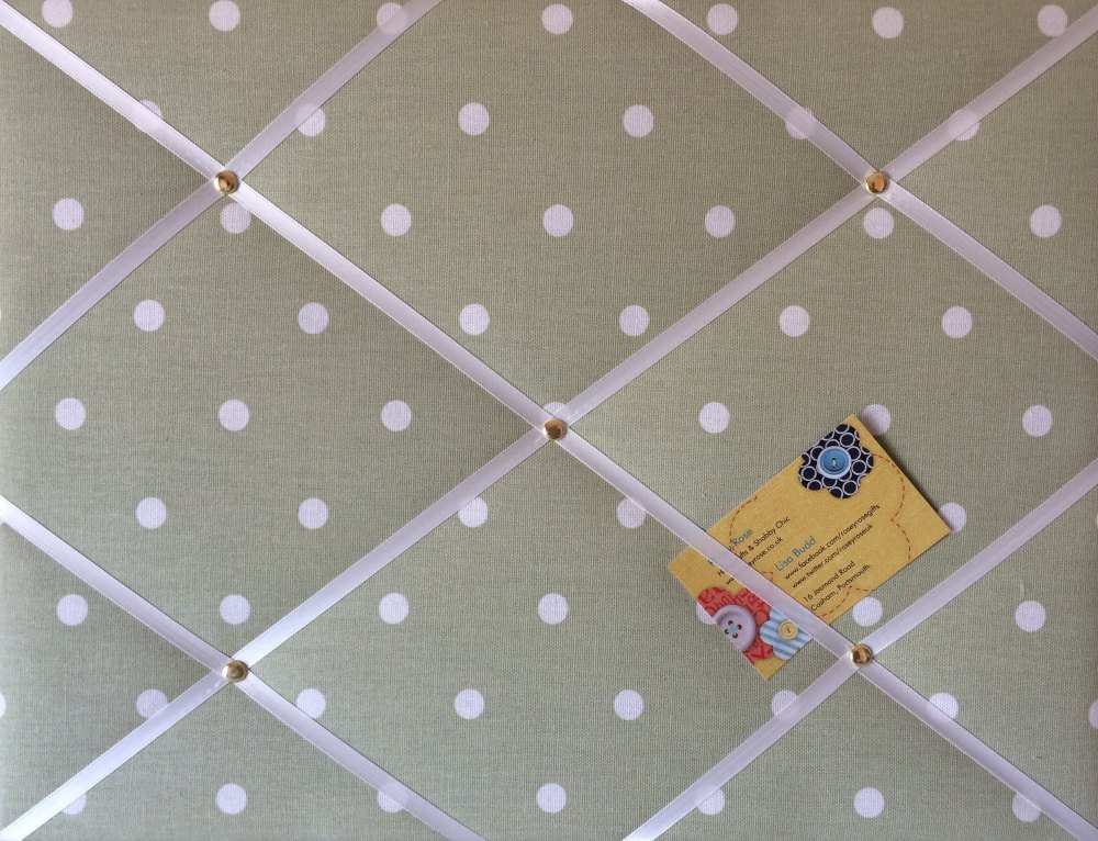 Medium 40x30cm Clarke & Clarke Green Dotty Spot Hand Crafted Fabric Notice