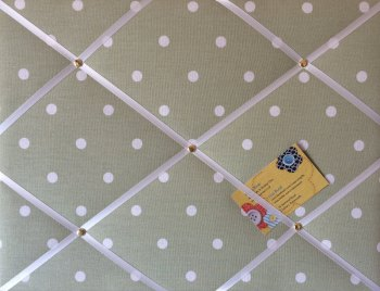 Medium 40x30cm Clarke & Clarke Green Dotty Spot Hand Crafted Fabric Notice / Memory / Pin / Memo Board
