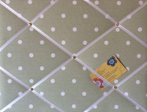 Medium 40x30cm Clarke & Clarke Green Dotty Spot Hand Crafted Fabric Notice