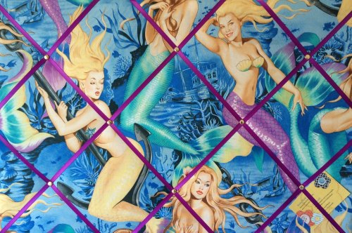 Large 60x40cm Alexander Henry Mermaid Pin Up Hand Crafted Fabric Notice / M
