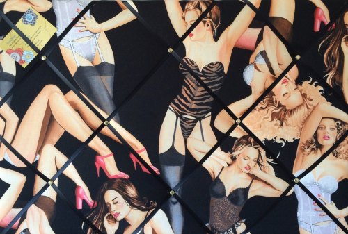 Large 60x40cm Alexander Henry Boudoir Black Sexy Lingerie Hand Crafted Fabr