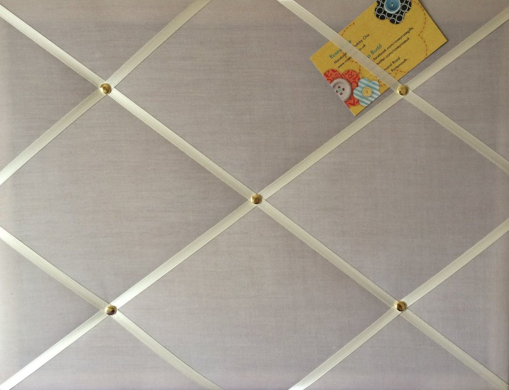 Medium 40x30cm Grey Hand Crafted Fabric Notice / Pin / Memo / Memory Board