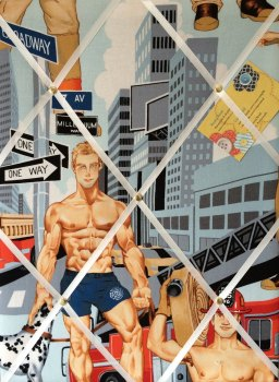 Medium 40x30cm Alexander Henry Ready for Action Fireman Firemen Pin Up Crafted Fabric Notice / Pin / Memo / Memory Board