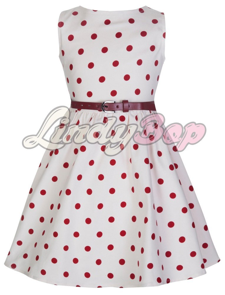 LINDY BOP CHILDRENS 'AUDREY' CUTESY WHITE & RED POLKA DOT VINTAGE INSPIRED