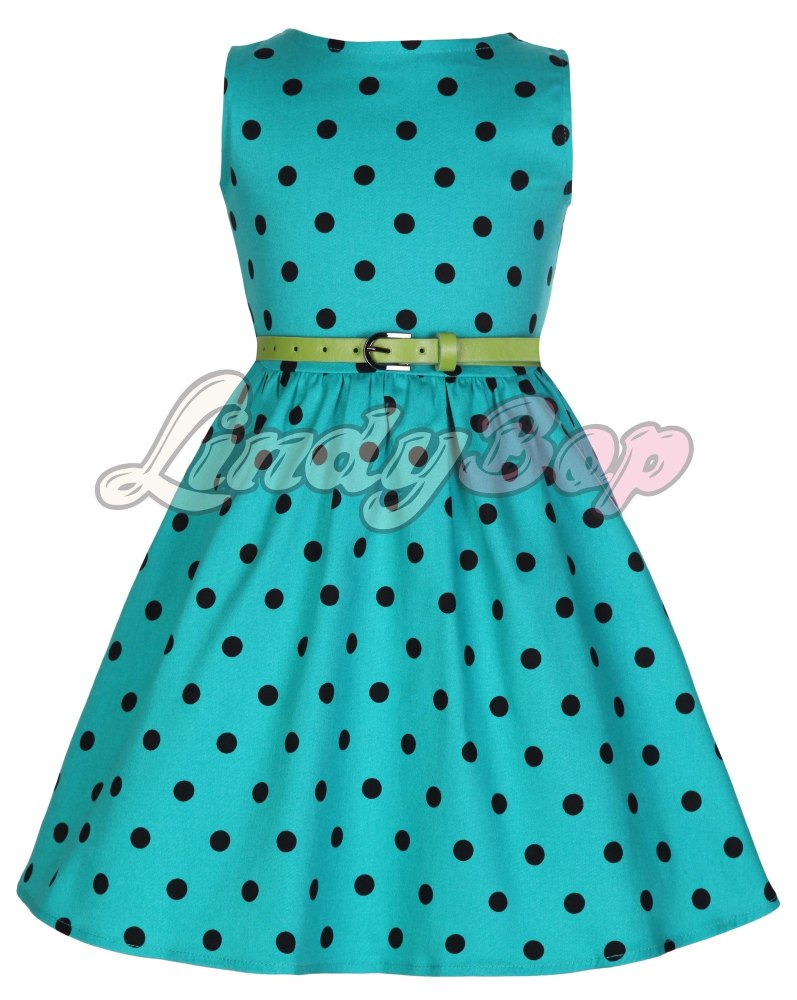 LINDY BOP CHILDRENS MINI 'AUDREY' CUTESY TUQUOISE POLKA DOT VINTAGE INSPIRE
