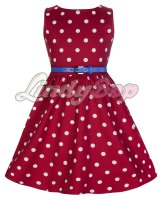 LINDY BOP CHILDRENS MINI 'AUDREY' CUTESY RED & WHITE POLKA DOT VINTAGE INSPIRED ROCK 'N' ROLL SWING PARTY DRESS