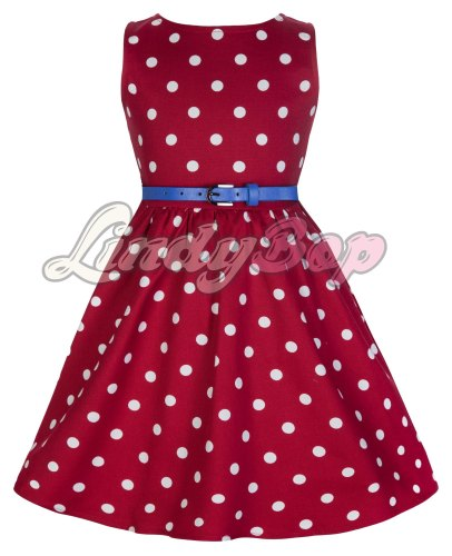 LINDY BOP CHILDRENS MINI 'AUDREY' CUTESY RED & WHITE POLKA DOT VINTAGE INSP