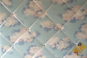 Large 60x40cm Cath Kidston Blue Clouds Hand Crafted Fabric Notice / Pin / Memo / Memory Board