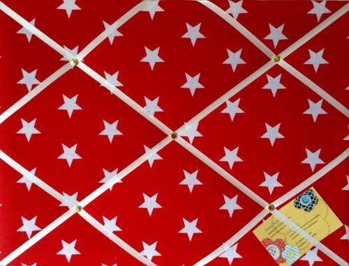 Medium 40x30cm Red & White Star Hand Crafted Fabric Notice / Pin / Memory /