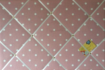 Large 60x40cm Clarke & Clarke Rose Pink Dotty Spot Hand Crafted Fabric Notice / Memory / Pin / Memo Board