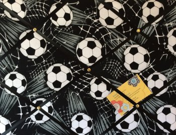 Medium 40x30cm Black & White Sports Football Soccer Hand Crafted Fabric Notice / Memory / Pin / Memo Board