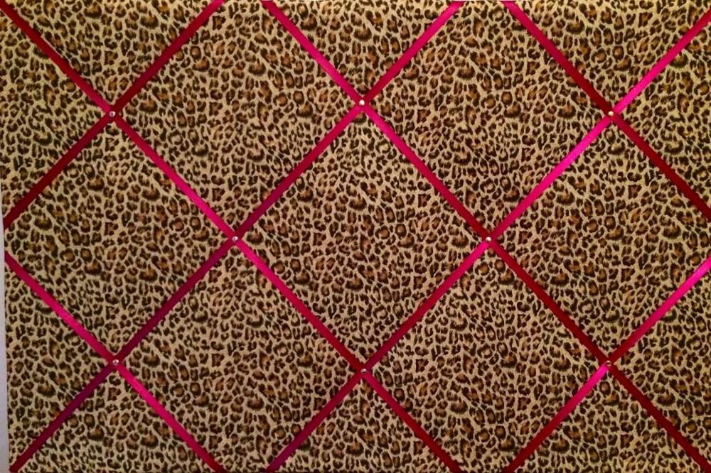 Extra Large 60x90cm Leopard Print Pink Ribbon Fabric Pin / Memo / Notice /