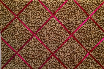 Extra Large 60x90cm Animal Leopard Print Pink Ribbon Fabric Pin / Memo / Notice / Memory Board