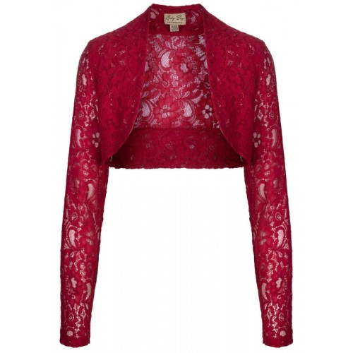LINDY BOP VINTAGE 50s ROCK N ROLL STRETCH DEEP RED DELICATE LACE SHRUG / BO