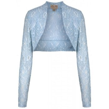 LINDY BOP VINTAGE 50s ROCK N ROLL STRETCH PASTEL BLUE DELICATE LACE SHRUG / BOLERO