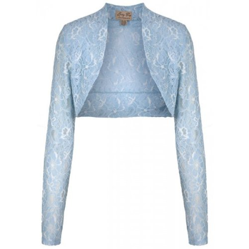 LINDY BOP VINTAGE 50s ROCK N ROLL STRETCH PASTEL BLUE DELICATE LACE SHRUG /