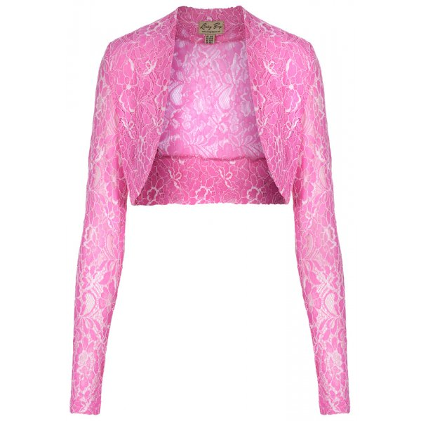 LINDY BOP VINTAGE 50s ROCK N ROLL STRETCH PINK DELICATE LACE SHRUG / BOLERO