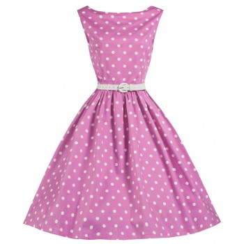 LINDY BOP 'AUDREY' SANDY CUTESY PINK POLKA DOT 50'S INSPIRED SWING DRESS